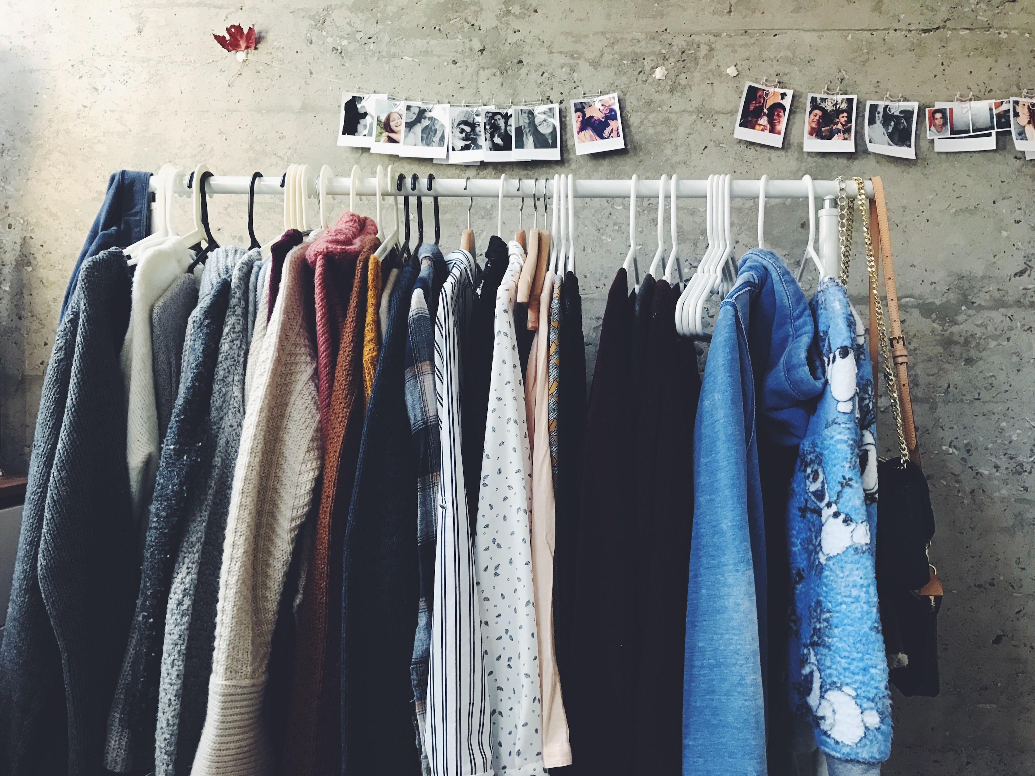 Clothes hanging on clothes rack